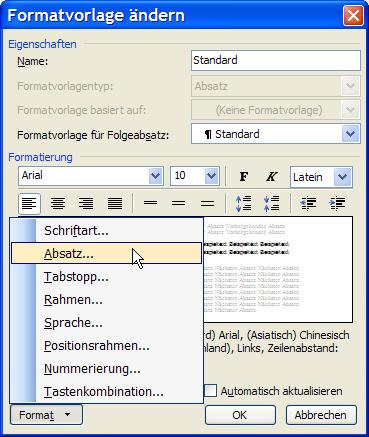 Formatvorlage ändern-Dialog